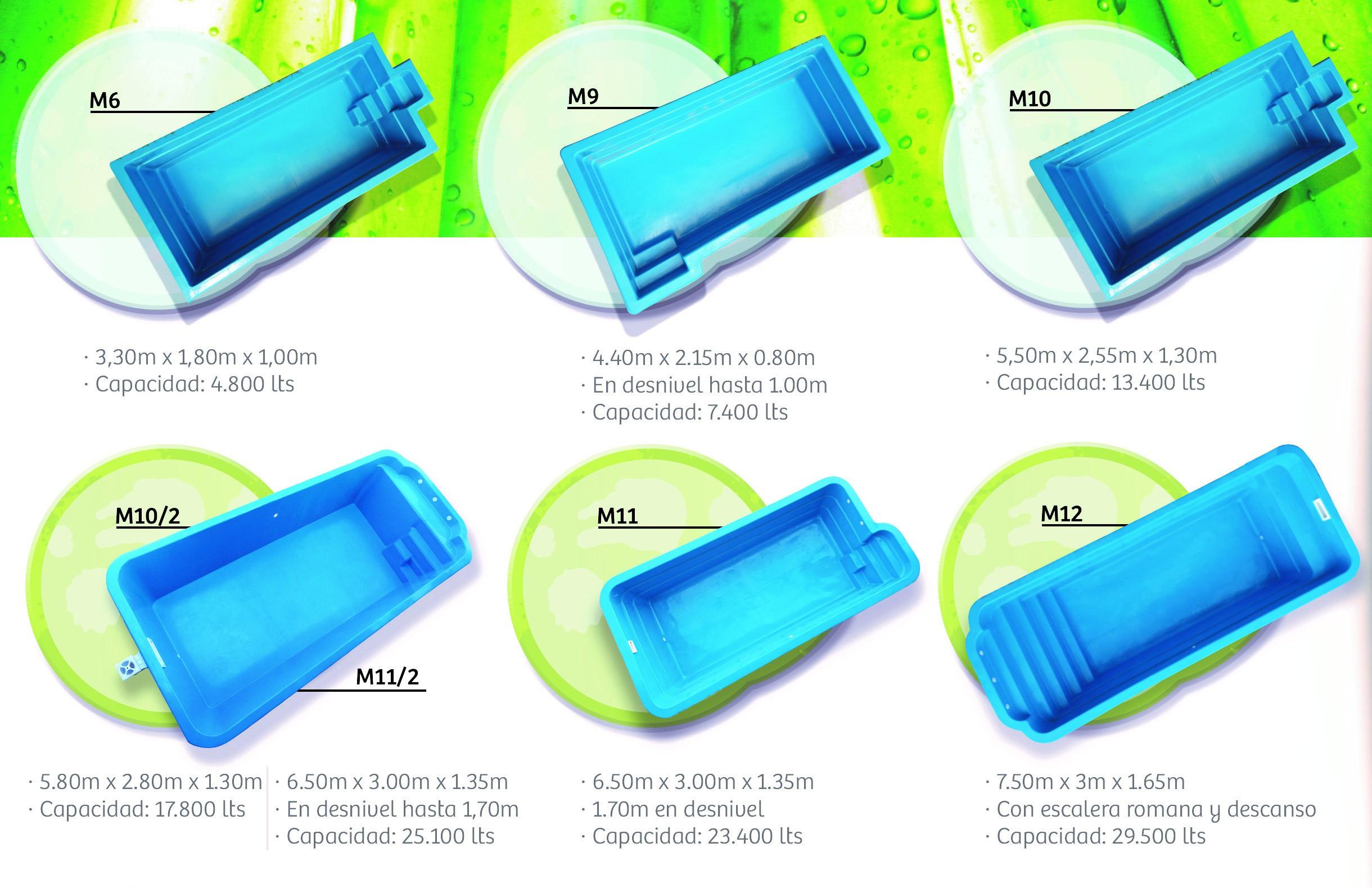 Modelos de piletas de fibra for Piscinas de fibra de vidrio medidas